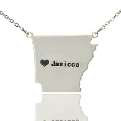 Custom AR State USA Map Necklace With Heart  Name Silver - Name My Jewelry ™