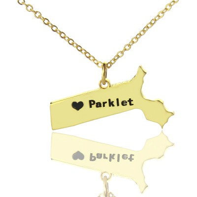 Massachusetts State Shaped Necklaces With Heart  Name Gold Plated - Name My Jewelry ™