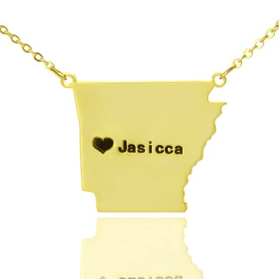 Custom AR State USA Map Necklace With Heart  Name Gold Plated - Name My Jewelry ™