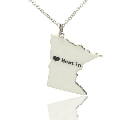 Custom Minnesota State Shaped Necklaces With Heart  Name Silver - Name My Jewelry ™
