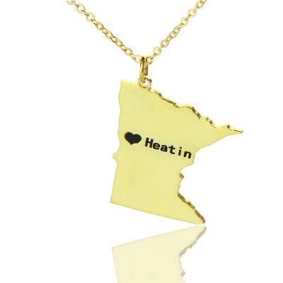 Custom Minnesota State Shaped Necklaces With Heart  Name Gold Plated - Name My Jewelry ™