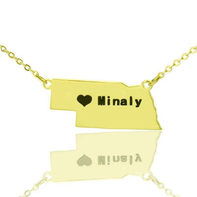 Custom Nebraska State Shaped Necklaces With Heart  Name Gold Plated - Name My Jewelry ™