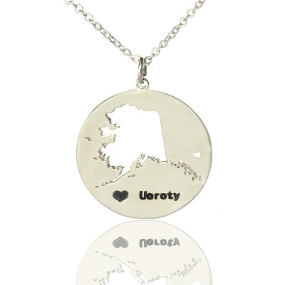 Custom Alaska Disc State Necklaces With Heart  Name Silver - Name My Jewelry ™