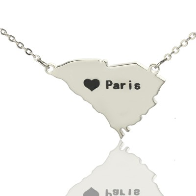 South Carolina State Shaped Necklaces With Heart  Name Silver - Name My Jewelry ™