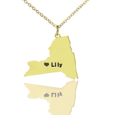 personalized NY State Shaped Necklaces With Heart  Name Gold Plated - Name My Jewelry ™