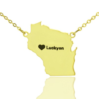 Custom Wisconsin State Shaped Necklaces With Heart  Name Gold Plated - Name My Jewelry ™
