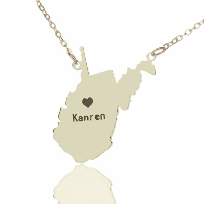Custom West Virginia State Shaped Necklaces With Heart  Name Silver - Name My Jewelry ™