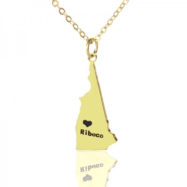 Custom New Hampshire State Shaped Necklaces With Heart  Name Gold - Name My Jewelry ™
