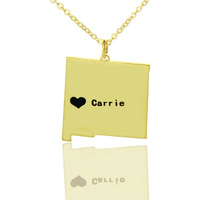 Custom New Mexico State Shaped Necklaces With Heart  Name Gold Plate - Name My Jewelry ™