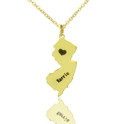 Custom New Jersey State Shaped Necklaces With Heart  Name Gold - Name My Jewelry ™