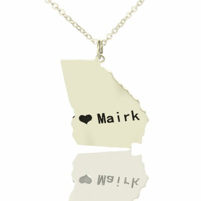 Custom Georgia State Shaped Necklaces With Heart  Name Silver - Name My Jewelry ™