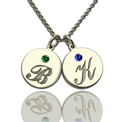 personalized Disc Necklace with Initial  Birthstone  - Name My Jewelry ™
