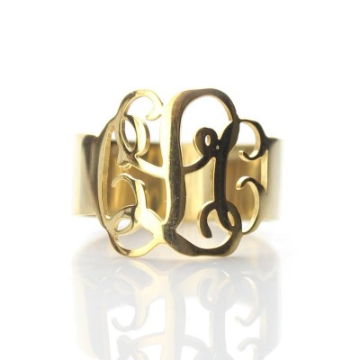 Solid Gold personalized Monogram Ring - Name My Jewelry ™