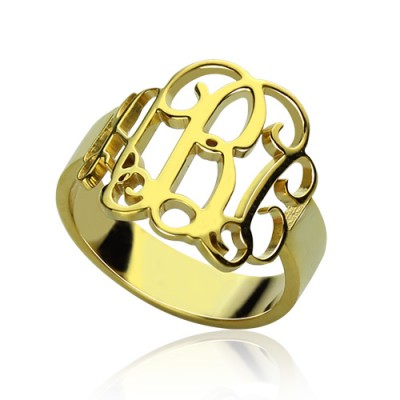 18ct Gold Plated Monogram Ring Cut Out - Name My Jewelry ™
