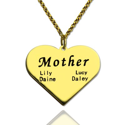 """""""Mother"""" Heart Family Names Necklace 18ct Gold Plated - Name My Jewelry ™"""