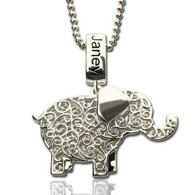 Elephant Charm Necklace with Name  Birthstone Sterling Silver  - Name My Jewelry ™