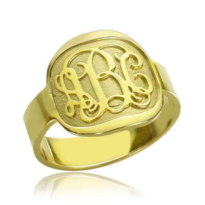 Engraved Designs Monogram Ring 18ct Gold Plated - Name My Jewelry ™