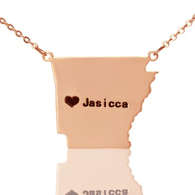 Custom AR State USA Map Necklace With Heart  Name Rose Gold - Name My Jewelry ™