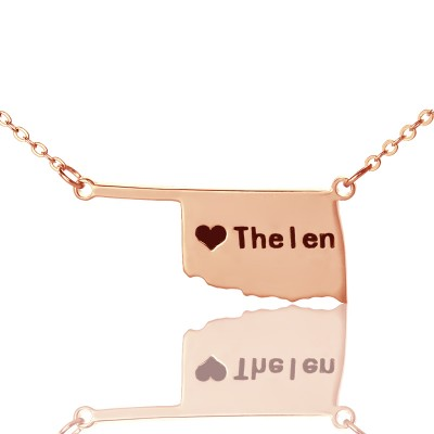 America Oklahoma State USA Map Necklace With Heart  Name Rose Gold - Name My Jewelry ™