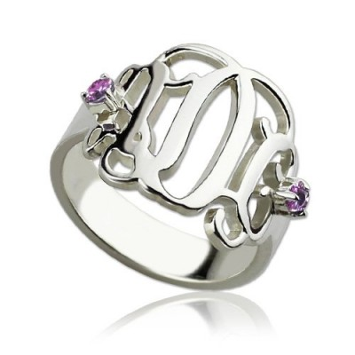 Birthstone Monogram Rings For Women Sterling Silver  - Name My Jewelry ™