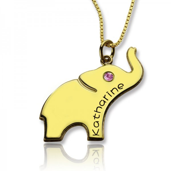 Elephant Lucky Charm Necklace Engraved Name 18ct Gold Plated - Name My Jewelry ™