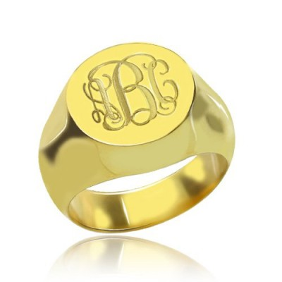 Engraved Circle Monogram Signet Ring 18ct Gold Plated - Name My Jewelry ™