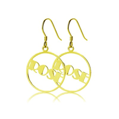 Gold Plated Silver 925 Broadway Font Circle Name Earrings - Name My Jewelry ™