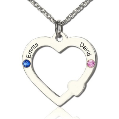 Double Name Open Heart Necklace with Birthstone Sterling Silver  - Name My Jewelry ™
