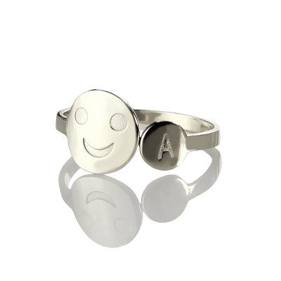 personalized Smile Ring with Initial Sterling Silver - Name My Jewelry ™