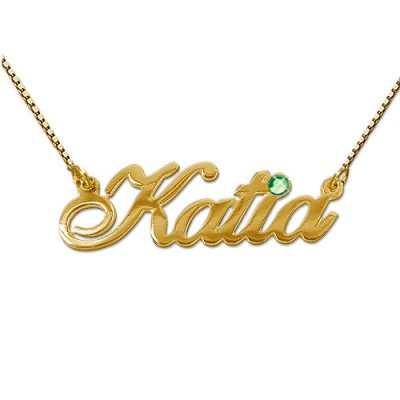 18ct Gold and Swarovski Crystal Name Pendant - Name My Jewelry ™