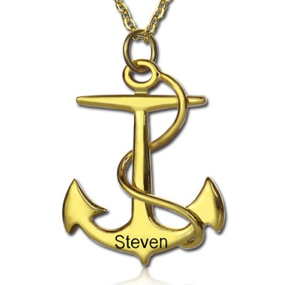 Anchor Necklace Charms Engraved Your Name 18ct Gold Plated Silver - Name My Jewelry ™