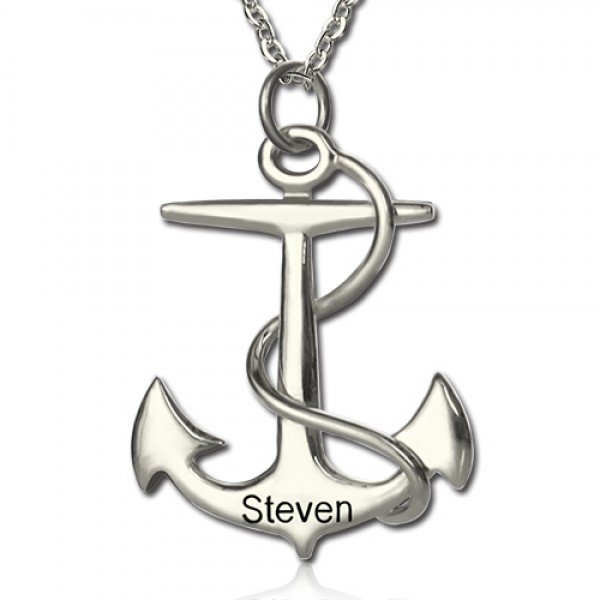 Anchor Necklace Charms Engraved Your Name Silver - Name My Jewelry ™