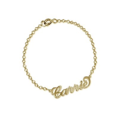 """18ct Gold-Plated Silver """"Carrie"""" Name Bracelet/Anklet - Name My Jewelry ™"""