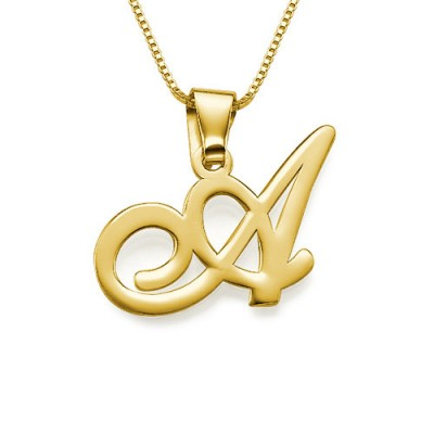 18ct Gold-Plated Initials Pendant With Any Letter - Name My Jewelry ™