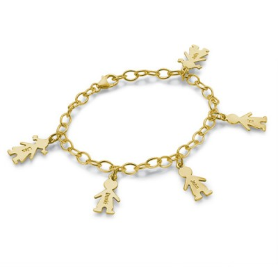 18ct Gold Plated Silver Engraved Kids Bracelet - Name My Jewelry ™