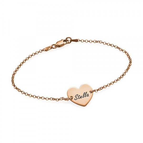 18ct Rose Gold Plated Engraved Heart Couples Bracelet/Anklet - Name My Jewelry ™