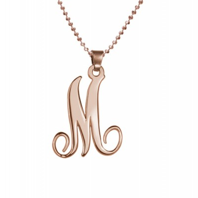18ct Rose Gold Plated Single Initial Necklace - Name My Jewelry ™