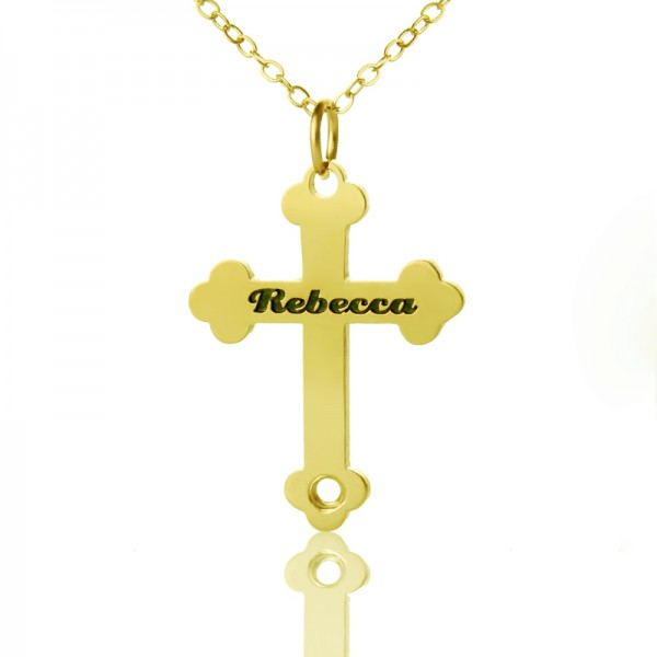 18ct Gold Plated 925 Silver Rebecca Font Cross Name Necklace - Name My Jewelry ™