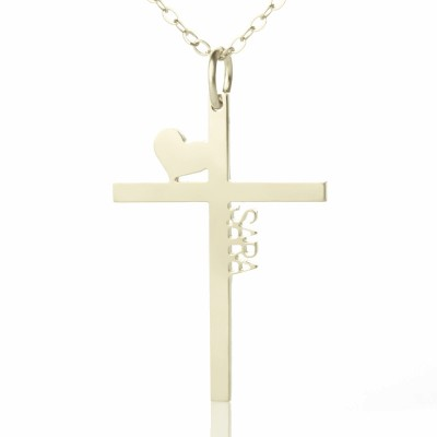 personalized Silver Cross Name Necklace with Heart - Name My Jewelry ™