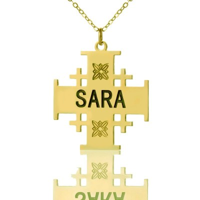 Gold Plated 925 Silver Jerusalem Cross Name Necklace - Name My Jewelry ™