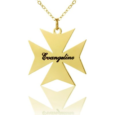 Gold Plated 925 Silver Maltese Cross Name Necklace - Name My Jewelry ™