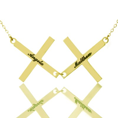 Gold Plated 925 Silver Greece Double Cross Name Necklace - Name My Jewelry ™