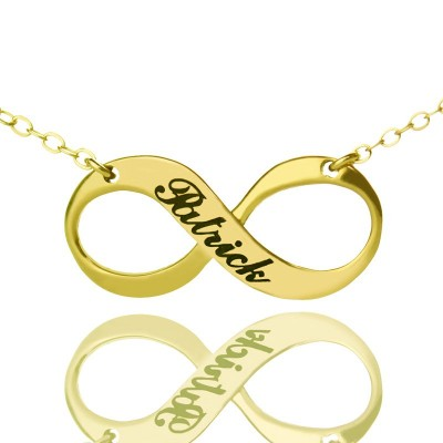 Infinity Symbol Jewelry Necklace Engraved Name 18ct Gold Plated - Name My Jewelry ™