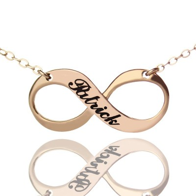 18ct Rose Gold Plated Engraved Infinity Necklace - Name My Jewelry ™
