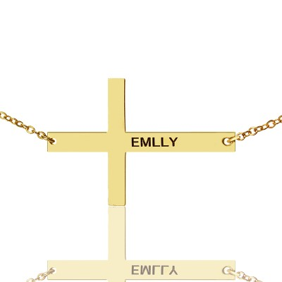 """18ct Gold Plated Silver Latin Cross Necklace Engraved Name 1.25"""" - Name My Jewelry ™"""