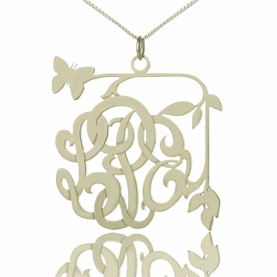 Custom Butterfly Script Monogram Necklace Sterling Silver - Name My Jewelry ™