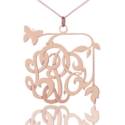 Butterfly and Vines Monogrammed Necklace 18ct Rose Gold Plated - Name My Jewelry ™