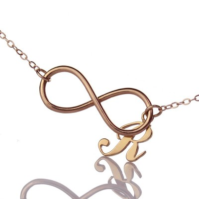 Rose Gold Plated Infinity Initial Necklace - Name My Jewelry ™