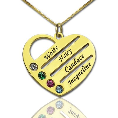 18ct Gold Plated Mothers Birthstone Heart Necklace Engraved Names  - Name My Jewelry ™