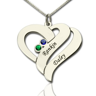 Two Hearts Forever One Necklace Sterling Silver - Name My Jewelry ™